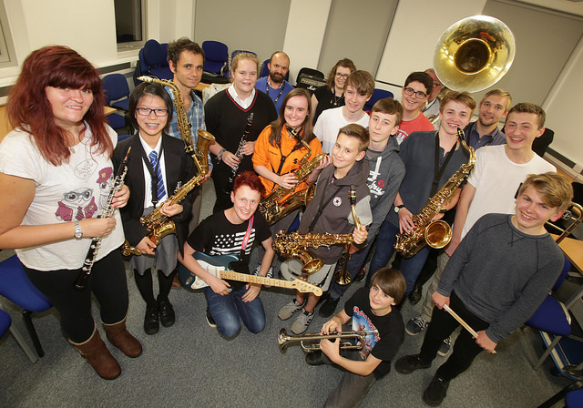 An image of Salford's MAPAS brass band