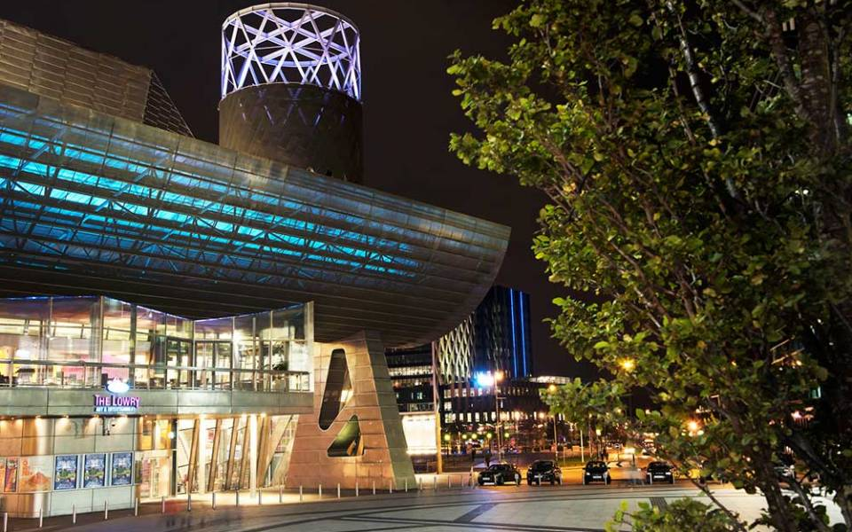 The Lowry building at night