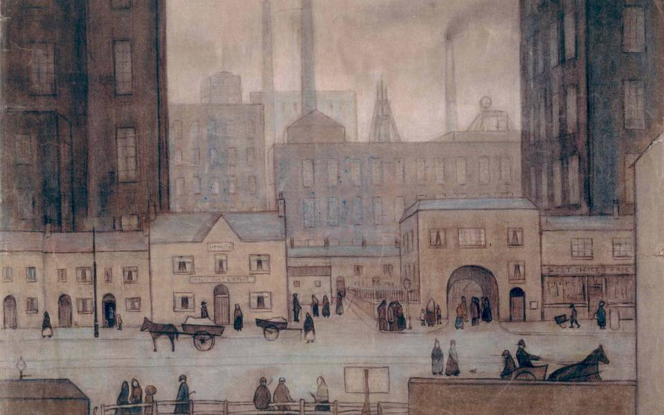 Coming from the Mill c1917-18 by LS Lowry
